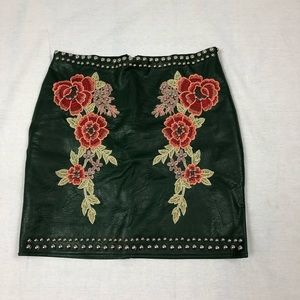 Romeo & Juliet Leather, embroidered, & studs skirt
